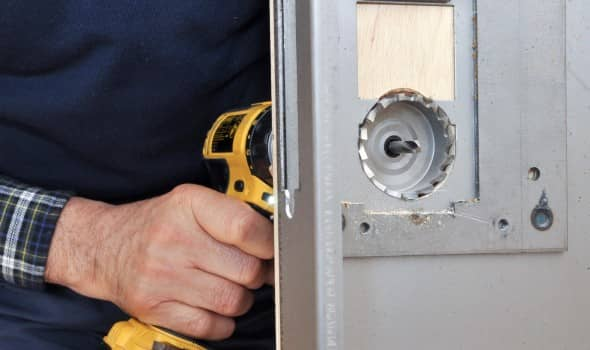 Door lock replacement with a power drill