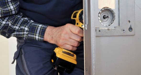 Lock repair by workman